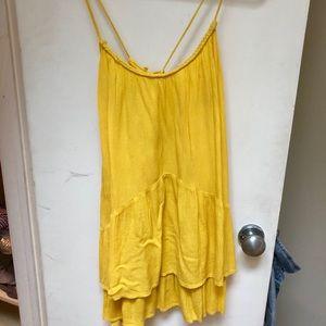 Yellow Zara dress with braiding details